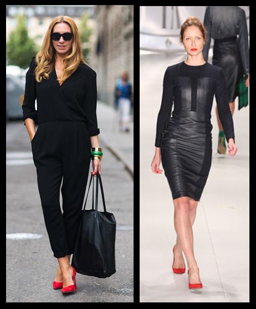 Vestido preto e sapato vermelho