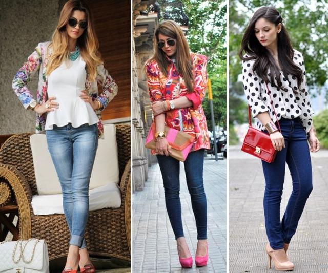01_CASUAL DAY _calça skinny jeans e blazer estampado_camisa de poa e calça jeans