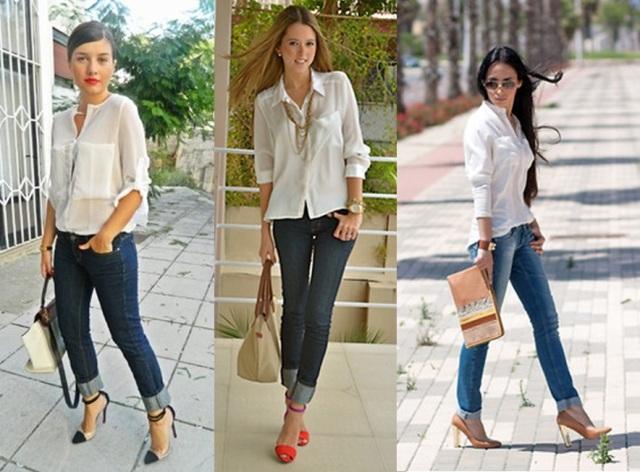 02_Look para casual day_Calça jeans com a barra dobrada_look de jeans feminino_look com calça jeans