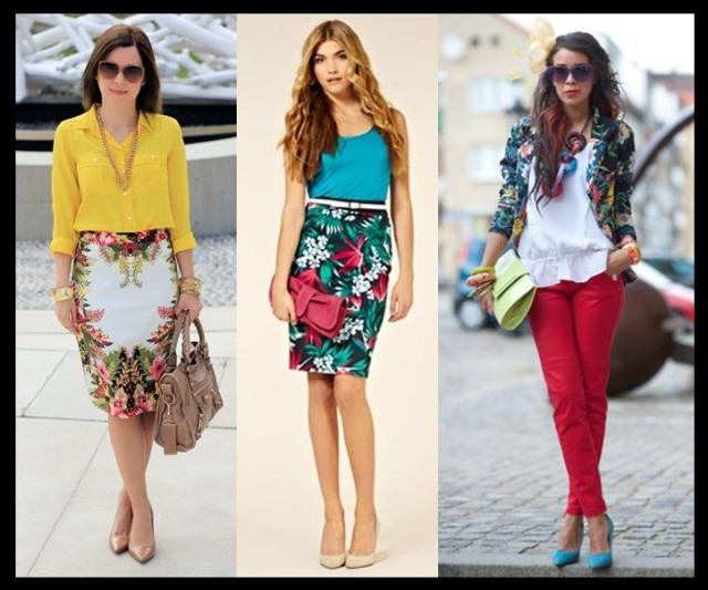 03_Estampa tropical looks para o trabalho_saia estampa tropical com camisa amarela_blusa azul_calça vermelha e blazer estampado