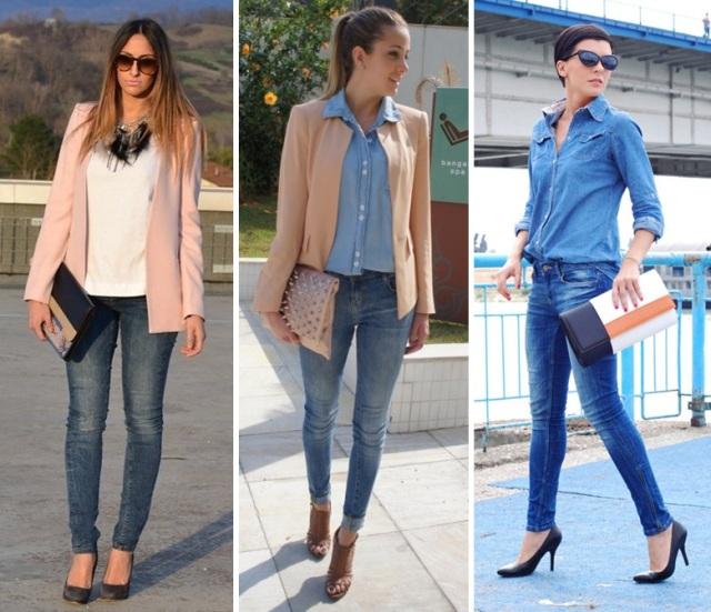 05_CASUAL DAY _calça skinny jeans e blazer_calça skinny jeans e camisa jeans