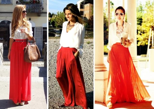 05_Saia Longa para o trabalho_Saia longa vermelha com camisa branca_saia longa