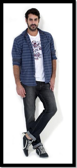 27.01.2013.Moda Masculina.Look Inspiração_look do dia_look para domingo_camisa xadrez aberta