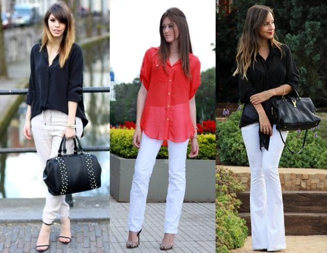 04_Look calça clara_look para trabalhar_look calça branca com camisa vermelha_look calça branca com camisa preta