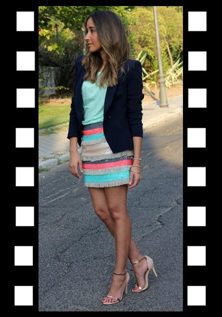 LOOK DO DIA_Inspiração do dia_look de trabalho_saia colorida_blazer azul marinho