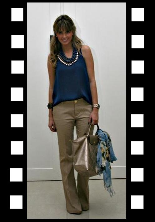 Look para trabalhar_look do dia_look inspiração_calça bege_blusa azul marinho