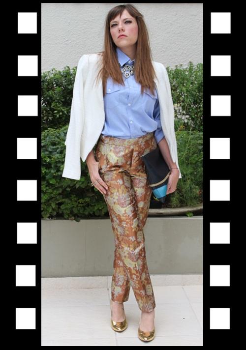 Look para trabalhar_look do dia_look inspiração_calça brocada_camisa jeans