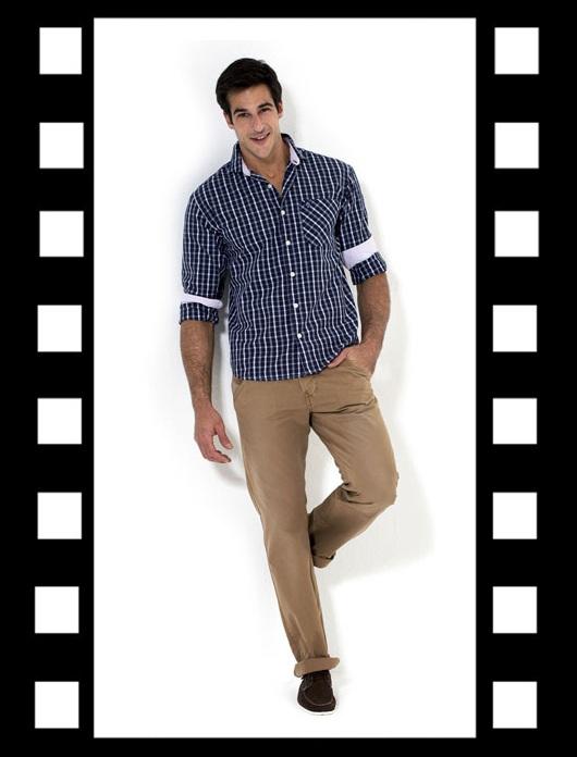 Moda masculina_ Look para trabalhar_look do dia_look inspiração_calça bege e camisa azul