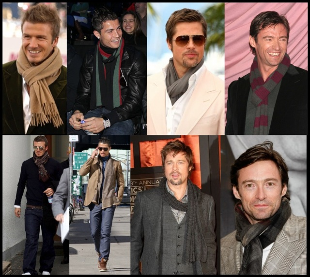 02_Cachecol para homem_Homem de cachecol_scarf Men_moda masculina_famosos de cachecol_brad pitt_cristiano ronaldo_hugh jackman