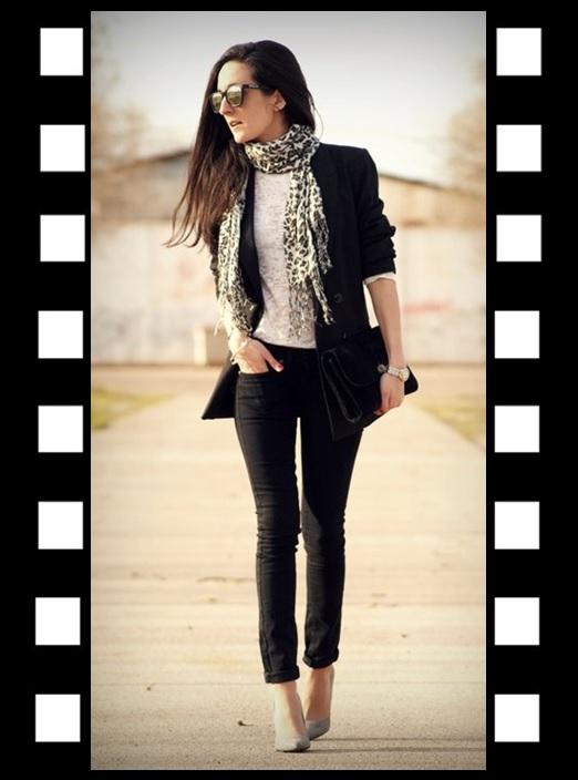 Look do dia_look de trabalho_look blazer preto_Inspiração do dia_pashimina de onça_lenço de onça