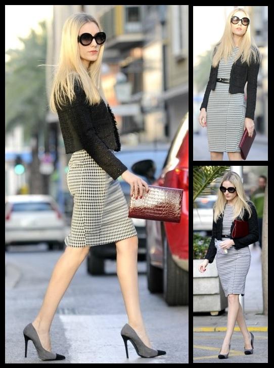 Look do dia_Moda Feminina_look para trabalhar_casaco de tweed_vestido com estampa Pied-de-Poule