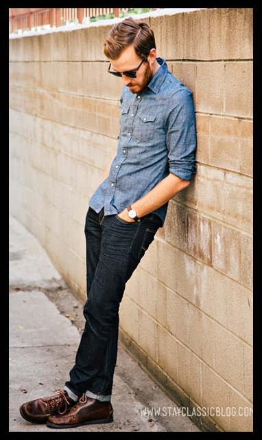 Moda Masculina_casual day_ look total jeans_calça jeans e camisa jeans