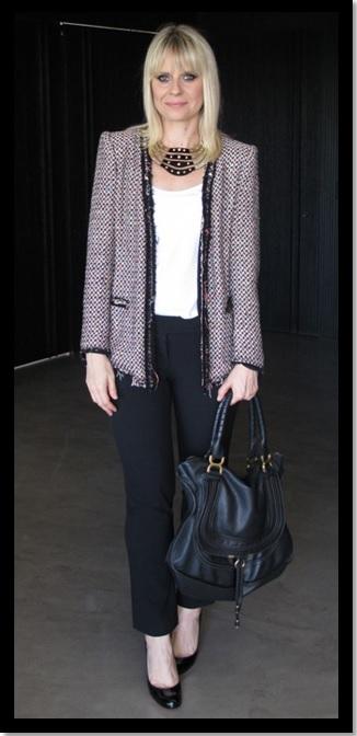 00_Look do dia_look inspiração do dia_look para trabalhar_moda trabalho_look para o trabalho_calça preta e casado de tweed