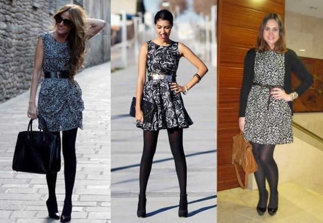 01_Lookbook para trabalhar_look de inverno_vestido estampado e meia calça preta