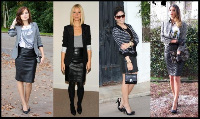 02_Como usar saia de couro_Look para trabalhar_saia de couro com blazer_saia de couro com casaqueto de tweed