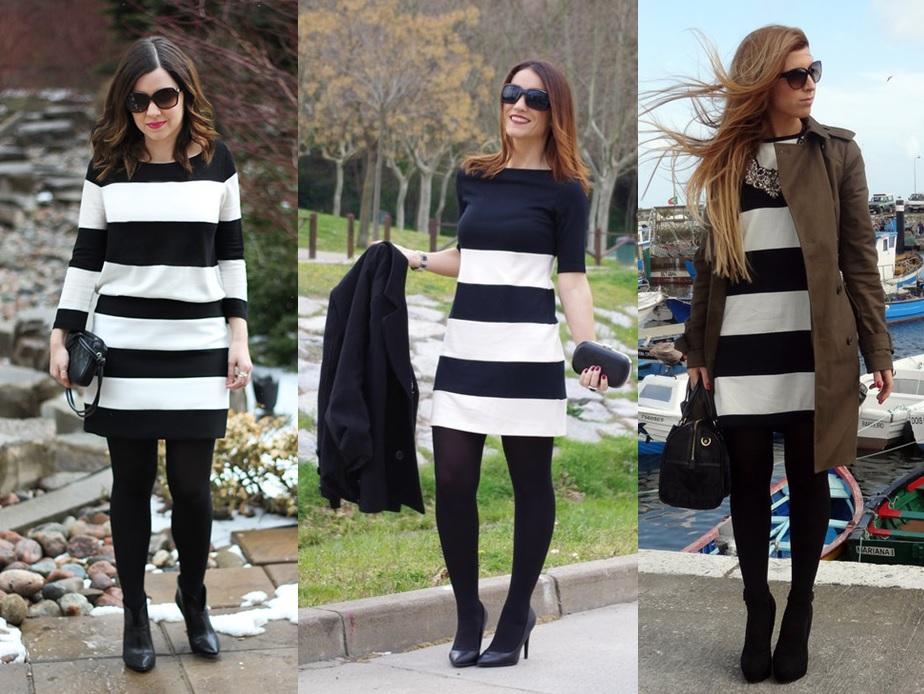 1bab8d418 02 Lookbook para trabalhar look de inverno vestido de listras e meia calça  preta