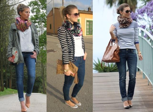 03_Look do dia_casual day_listras e jeans_sapatilha_look para trabalhar_listras e floral_pashmina