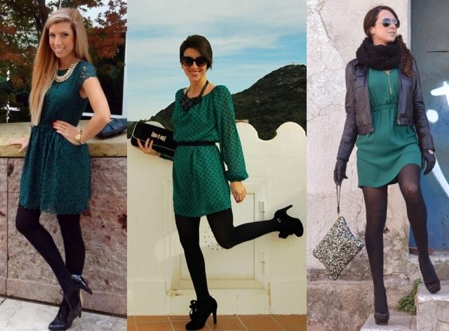 03_Lookbook para trabalhar_look de inverno_vestido verde e meia calça preta