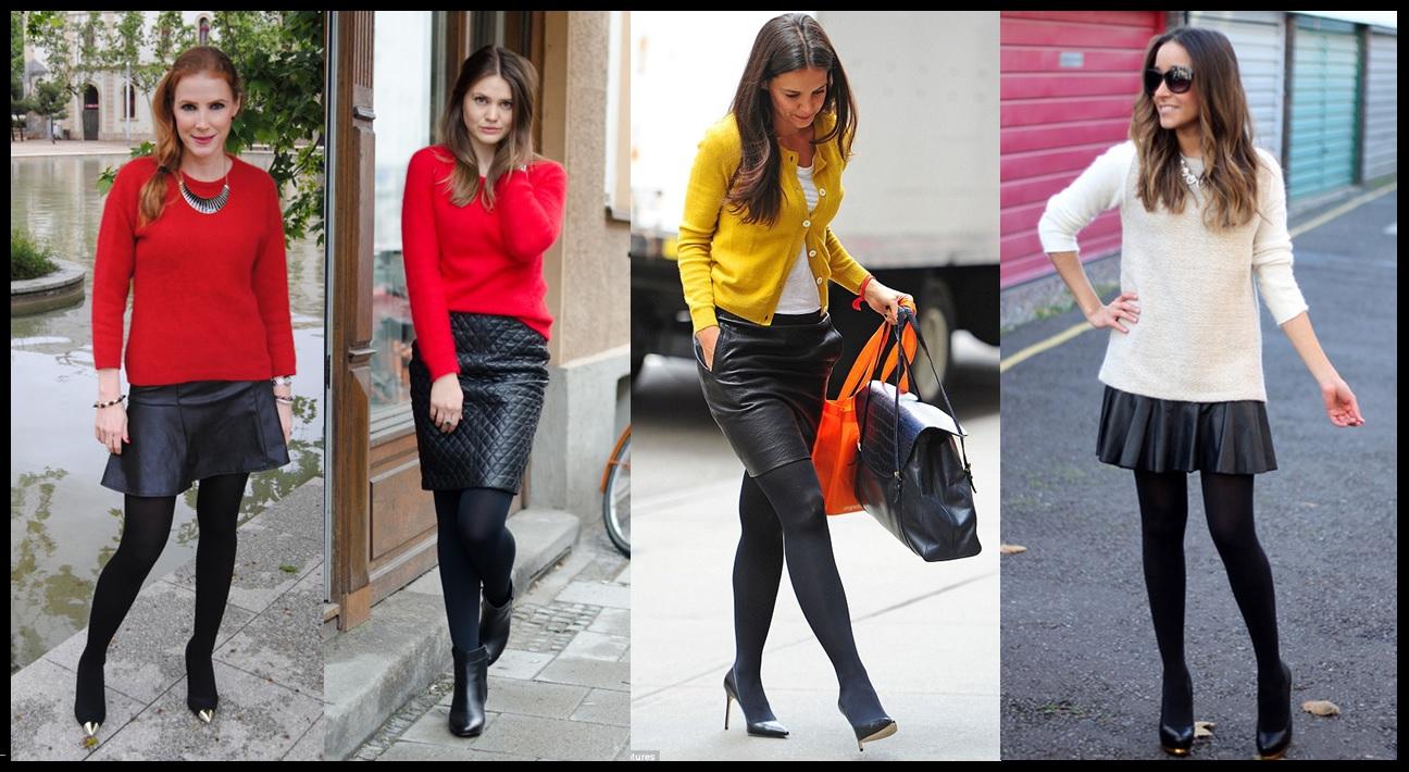 usar saia de couro_Look para trabalhar_saia de couro com meia fina ...