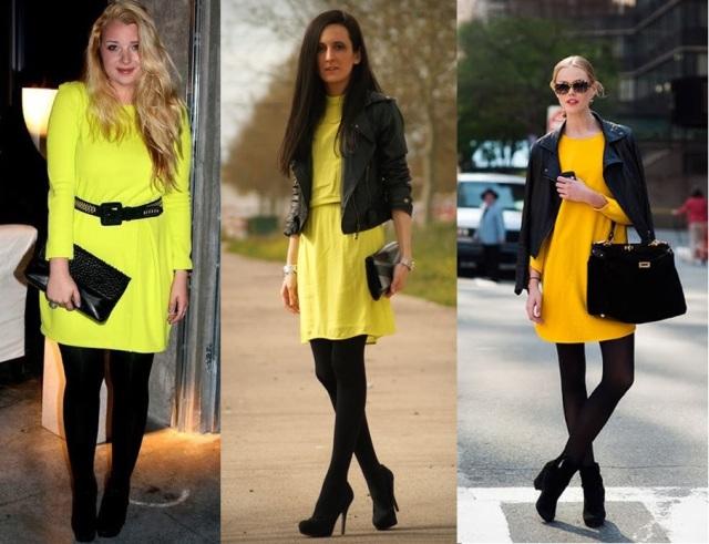 04_Lookbook para trabalhar_look de inverno_vestido amarelo e meia calça preta