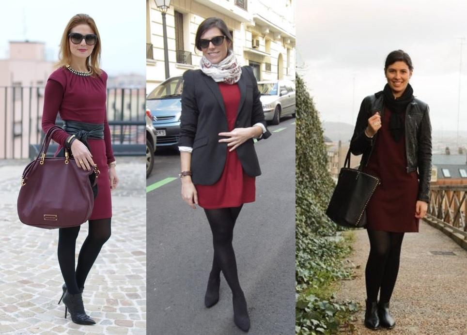 7576aaa4e 05 Lookbook para trabalhar look de inverno vestido vinho vestido burgundy e meia  calça preta