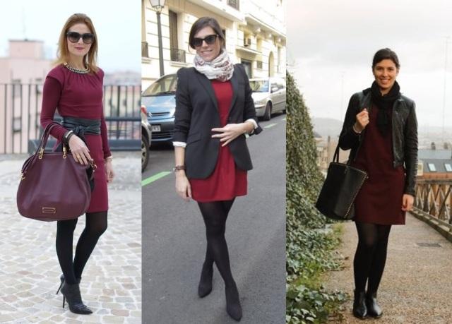 05_Lookbook para trabalhar_look de inverno_vestido vinho_vestido burgundy e meia calça preta