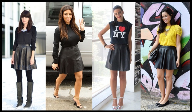 06_Como usar saia de couro_Look para trabalhar_saia de couro rodada_saia de couro plissada