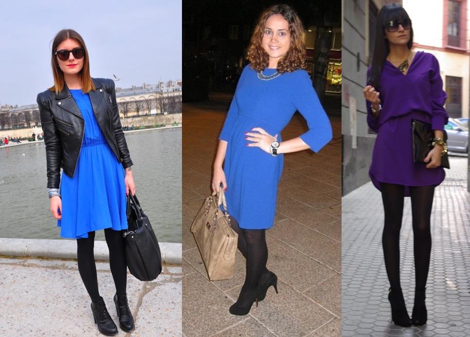 089b8632e 06 Lookbook para trabalhar look de inverno vestido roxo vestido azul e meia  calça preta