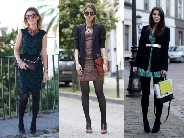 07_Lookbook para trabalhar_look de inverno_vestido e meia calça preta