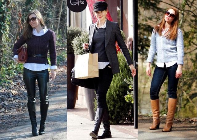 01_Look para o casual day_jeans e bota de cano alto_bota montaria_look para trabalhar_como usar bota montaria_calça jeans e bota_camisa e malha de trico