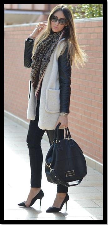 Look de inverno_look para trabalhar_calça preta_casaco bicolor_pashmina de oncinha_expediente da moda