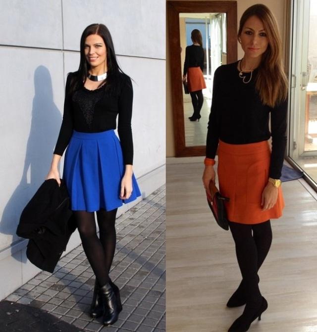01_Looks de trabalho_Looks de inverno_como usar cores vivas no inverno_saia colorida_meia calça