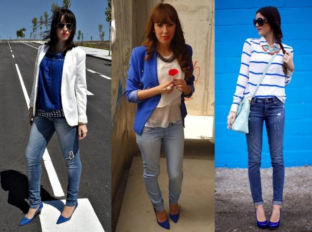 02_Sapato azul_ look para o casual day_ calça jeans com sapato azul_blazer branco_blazer azul