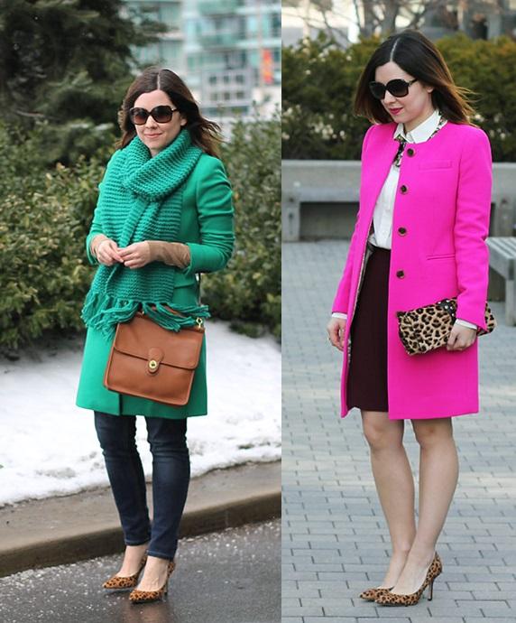 05_Looks de trabalho_Looks de inverno_como usar cores vivas no inverno_casacos colorido_sobre tudo rosa_sobretudo verde
