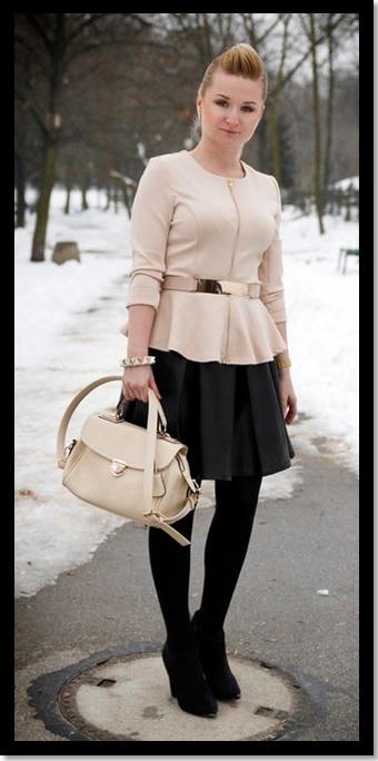 Inspiração do dia_look de trabalho para o inverno_ moda para o trabalho_ saia rodada preta