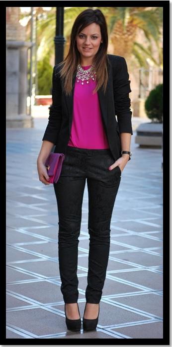 look de trabalho_look de inspiração_calça preta e blusa pink_blazer preto_moda feminina 2013_look para trabalhar no inverno