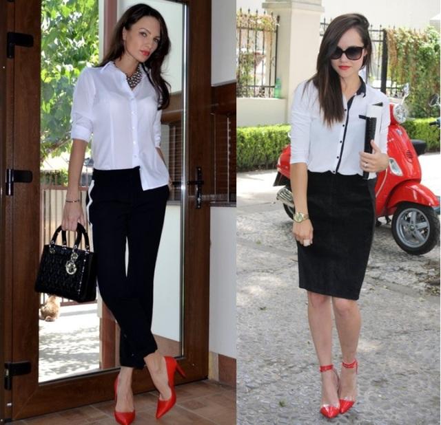 02_combinação de cores_preto branco e vermelho_look de trabalho_moda pra trabalhar_saia preta_sapato vermelho_camisa branca_calça preta