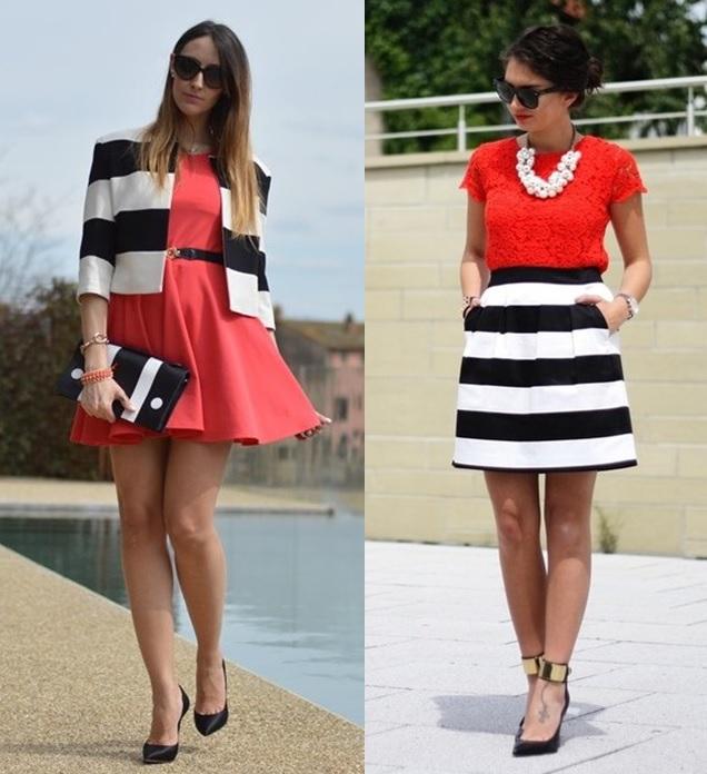 04_combinação de cores_preto branco e vermelho_look de trabalho_moda pra trabalhar_vestido vermelho e casaco de listras preto e branco_saia listrada e blusa vermelha