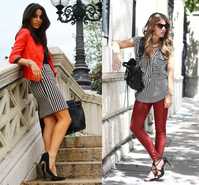 05_combinação de cores_preto branco e vermelho_look de trabalho_moda pra trabalhar_saia listrada e jaqueta vermelha_calça vermelha e camisa listrada