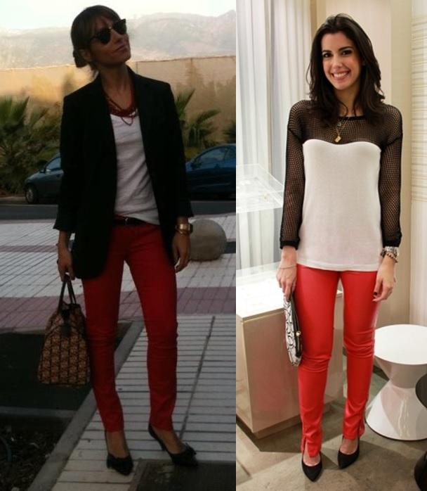 06_combinação de cores_preto branco e vermelho_look de trabalho_moda pra trabalhar_calça vermelha e blusa branca