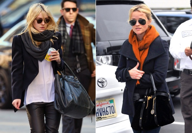 Dakota Fanning_Reese Witherspoon_cachecol_inverno_wool scarf