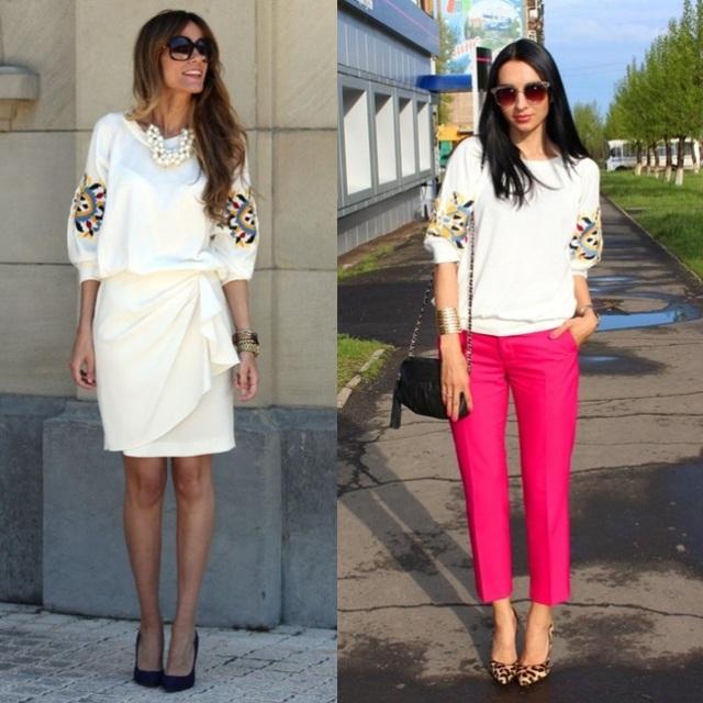 Look Trabalho_A mesma blusa em diferentes looks, blusa branca e saia branca_blusa branca e calça rosa_sapato de oncinha_