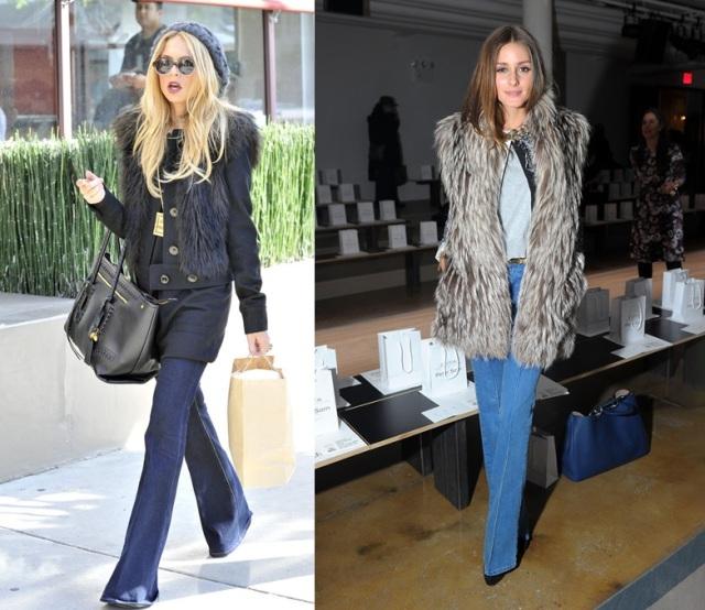 rachel zoe_olivia palermo_flare denim_wool waistcoat_calça jeans flare_colete de pelo
