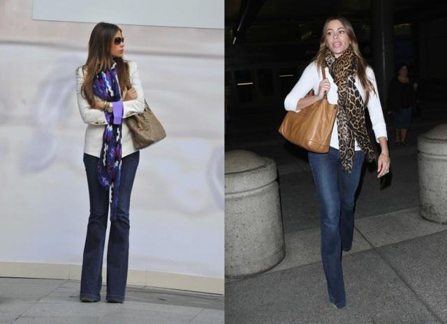 sophia vergara_flare denim_scarf_calça jeans flare_lenço