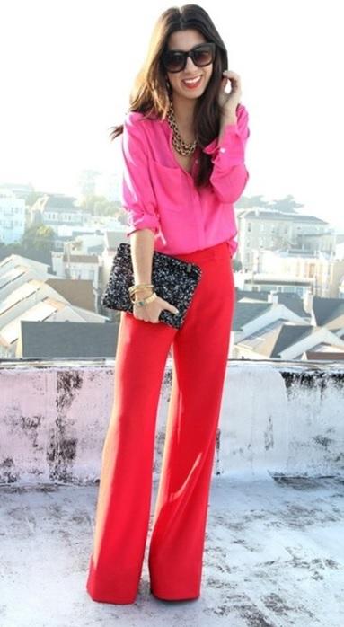00_Inspiração do dia_look de trabalho_camisa rosa_calça vermelha_look do dia_combinação de rosa com vermelho
