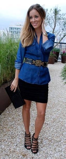 00_Look Camisa jeans_expediente da moda_camisa jeans com saia preta_look para o happy hour_look de trabalho
