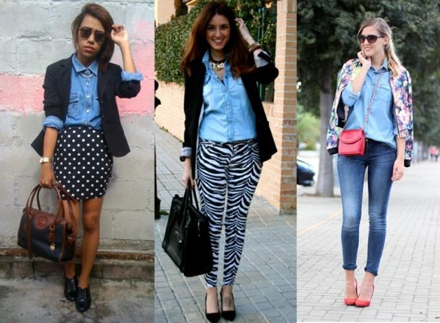 02_Look Camisa jeans_expediente da moda_camisa jeans com saia de poas_camisa jeans com calça de print animal_camisa jeans com blazer_ look de trabalho