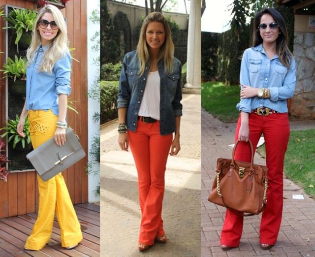 05_Look Camisa jeans_expediente da moda_camisa jeans com calça colorida