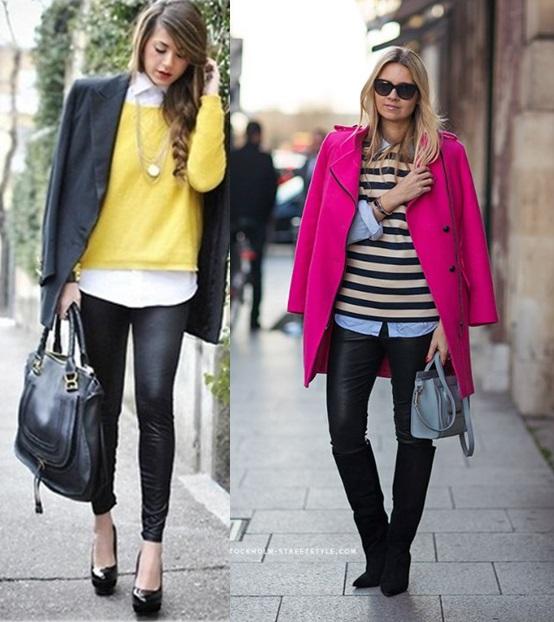 2_Look de Inverno_look de inverno para o trabalho_calça preta de couro_sweater_blusa de lã e camisa_casaco rosa pink_bota de cano alto