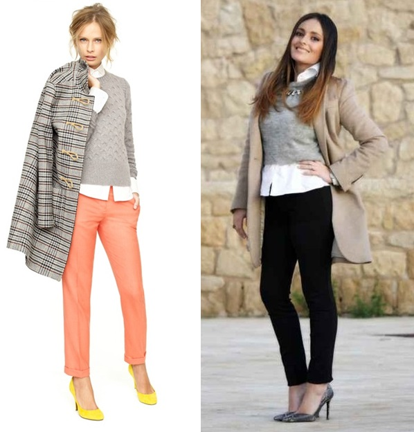 3_Look de Inverno_look de inverno para o trabalho_calça preta_calça laranja_blusa de lã cinza e camisa